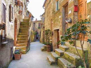 alley in old town Pitigliano, tuscany, italy Wall mural