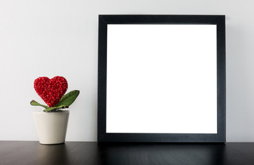 Valentines Heart Flower pot with blank Photo frame
