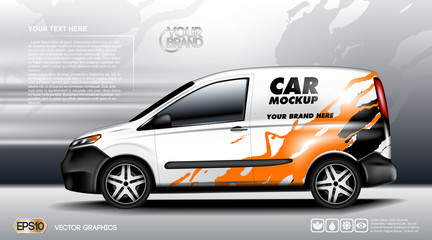 Digital vector white realistic vehicle car mockup, ready for your logo and design . Template for advertising and corporate identity. Food delivery. Illustrated vector. Blank transportation. Mockup