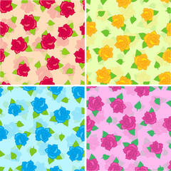 Rose with Green Leaves Seamless Pattern Set Vector