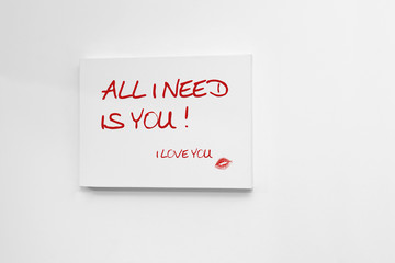 All I need is You, I Love You -Picture on Wall