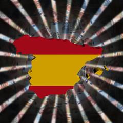 Spain map flag on currency burst illustration
