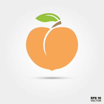 Peach with leaf vector icon