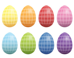 Easter eggs vintage style, with checked gingham pattern. Isolated vector illustration on white background.