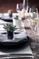 Table served with succulents for dinner in living room