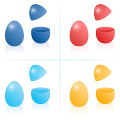 Easter egg boxes, closed and opened to be filled - dark and light blue, red and orange. Three-dimensional isolated vector illustration on white background.
