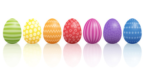 Easter eggs lined up with different colors and patterns. Isolated vector illustration on white background.