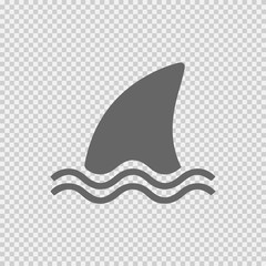 Shark fin icon on vector icon eps 10. Simple isolated illustration on transparent background.