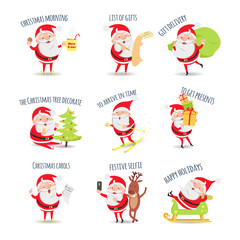 Santa Claus Routine. Collection of Illustrations