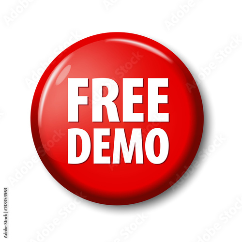 bright red button with words free demo circle label for software