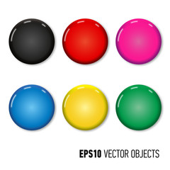 Set of six colored pin magnets (badges). Office equipment. Realistic vector illustration.