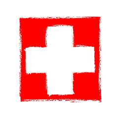 grunge white cross on red