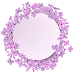 Greeting card with lilac, can be used as invitation card for wedding, birthday and other holiday and summer, spring background. Round frame for text flower, delicate wreath. Vector illustration EPS10