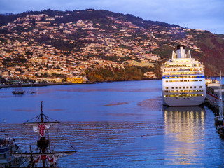 Harbour, populated slopes, sunset, Portugal, Madeira, Funchal