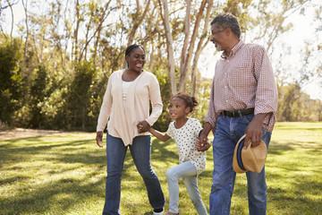Grandparents And Granddaughter Walking In Park Together