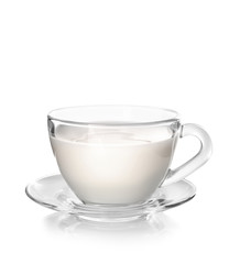 Cup of milk on white background