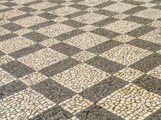 Decorative stone pavement at Madeira, Portugal, Madeira, Funchal