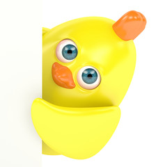 3d render of Easter chick holding board