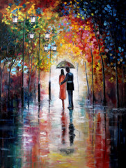 Original oil painting on canvas - Lovers under umbrella - Modern Art