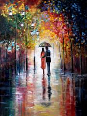 Original oil painting on canvas - Lovers under umbrella - Modern Art