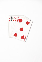 Poker hand rankings symbol set Playing cards in casino: straight on white background, luck abstract