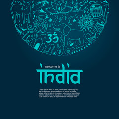 Welcome to India concept. Hand drawn elements of India on a dark blue background.
