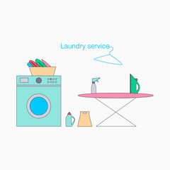 Laundry service vector illustration on a white background. Ironinig, washing icons.