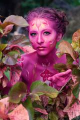 Foto op Canvas Schilderkunstige Inspiratie Woman in paint. Attractive and sexy girl body art