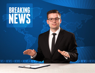 Television presenter in front telling breaking news with blue modern background