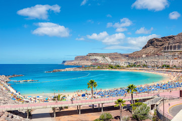 Autocollant pour porte Iles Canaries Amadores beach. Gran Canaria, Canary islands, Spain