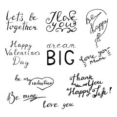 Lettering text set about love. Vector postcard.