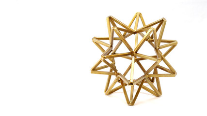 Wire Geometric Gold Household Decoration with White Background