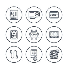 computer components line icons in circles on white, processor, motherboard, RAM, video card, HDD, SSD, cooler