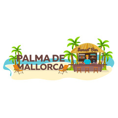 Palma de Mallorca. Travel. Palm, drink, summer, lounge chair, tropical.