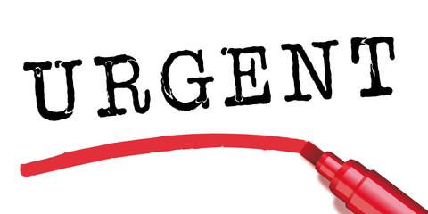 Urgent - marqueur - souligner - présentation - panneau - signalisation