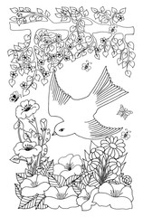 Vector illustration flying bird among the flowers. Work done by hand. Book Coloring anti-stress for adults and children. Black and white.