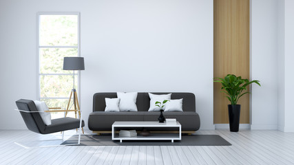 Moder  interior, white room and black furniture /3d render