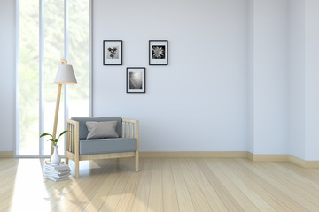 White room interior,arm chair on wood floor and white wall /3d render