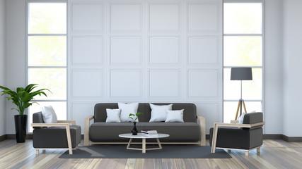 Moder  interior, white room and black furniture on old wood floor /3d render