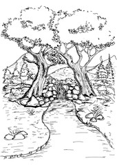 Vector hand drawn sketch river and nature