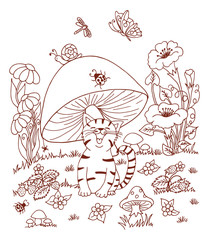 Vector art illustration hilarious kitten sits in a clearing under fungus. Work done by hand. Book Coloring anti-stress for adults and children.Brown and white.