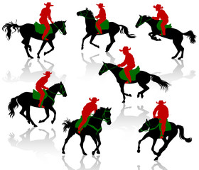 Silhouettes of cowboys on horseback. Multiplay layer set.