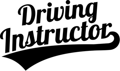 Wall Mural - Driving instructor word retro font