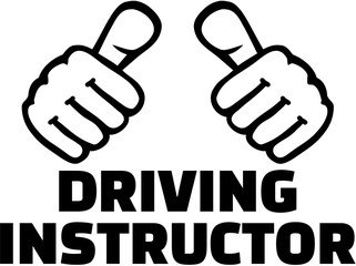 Wall Mural - Driving instructor with thumbs