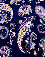 Fabric silk texture of dark blue, Navy