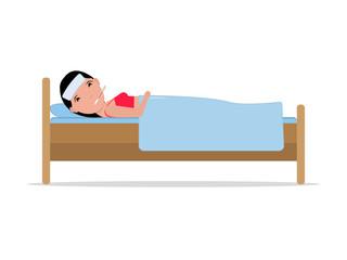 Vector cartoon ill sick woman lying bed with flu