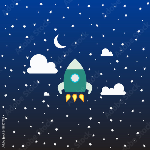 cartoon modern flat rocket launch flying in space with moon and stars on background for prints. Black Bedroom Furniture Sets. Home Design Ideas