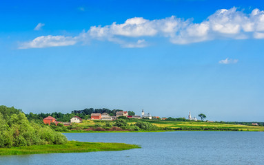 lake in rural area on a summer day