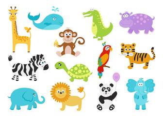 Set of cute cartoon  animals for baby  clothes, alphabet cards.