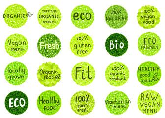 Collection  of  organic, natural, bio,farm, healthy food  badges.